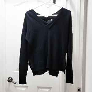 Margaret O'Leary Double V Neck Black Sweater